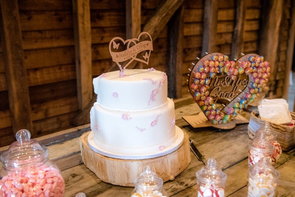 Wedding Cake on a wooden table