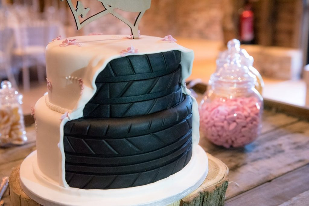 The back of the wedding cake for a motorcycle enthusiast