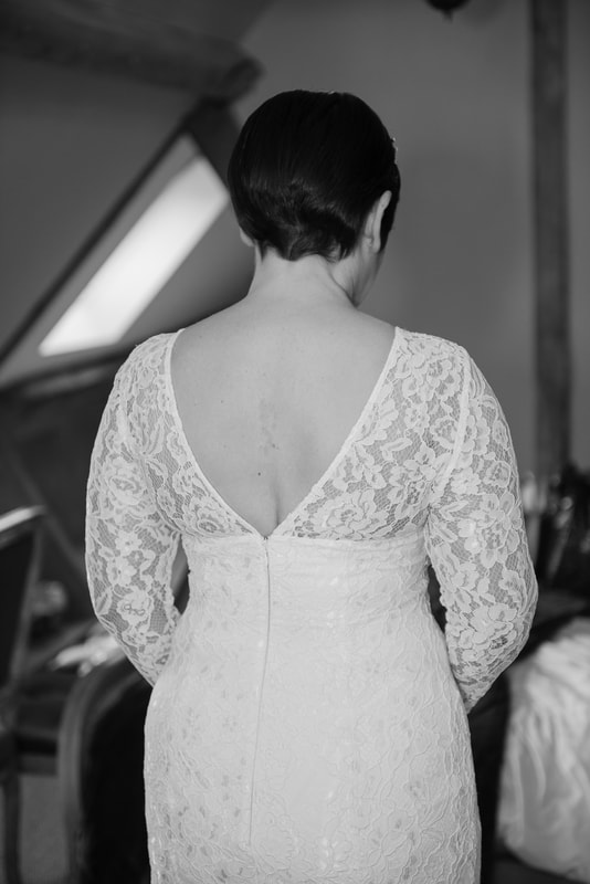 The back of the wedding dress