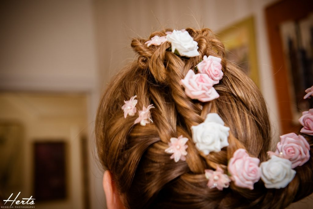 The intricate flowers positioned into the bride