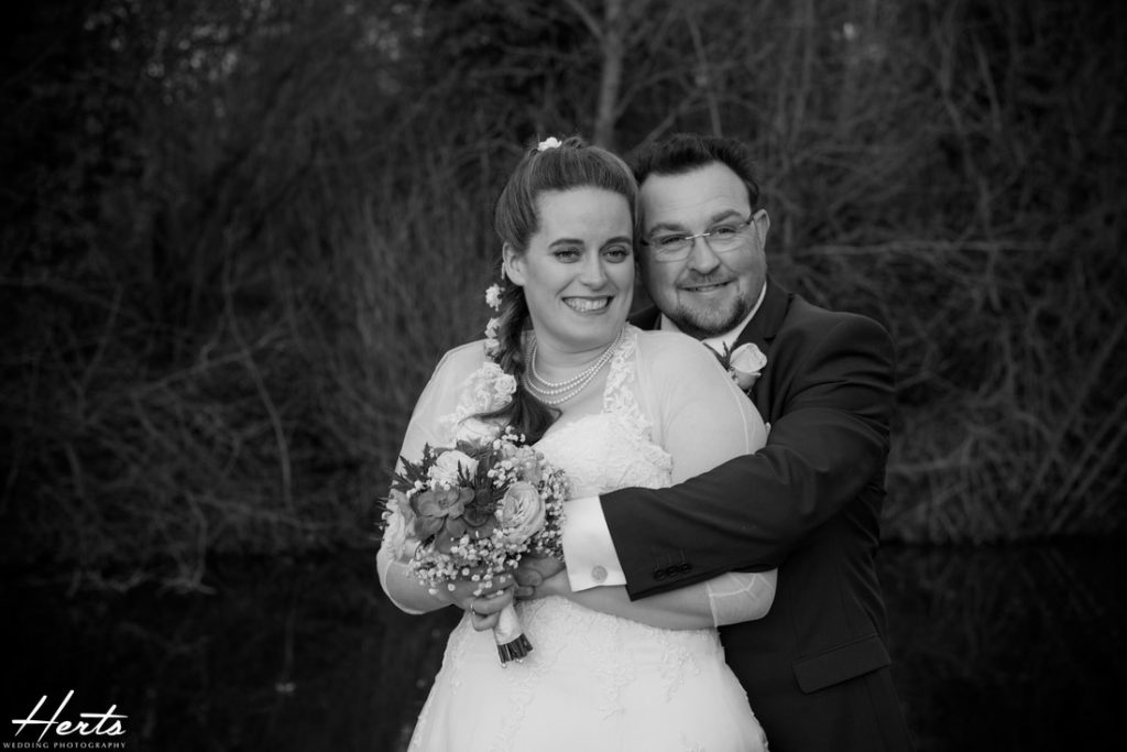 A black and white photo of the bride and groom in st albans