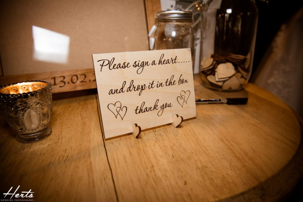A sign for guests to write their messages on