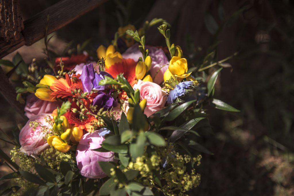The bridal bouquet of gorgeous rich colours