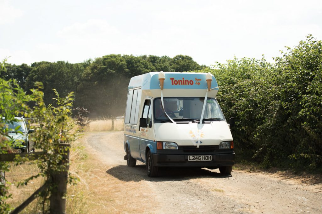 An ice cream van arrives at the wedding