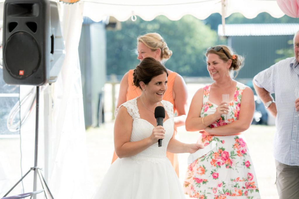 The bride delivers a speech