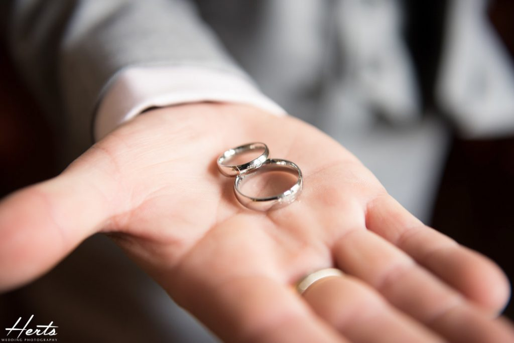 A photo of the silver wedding rings