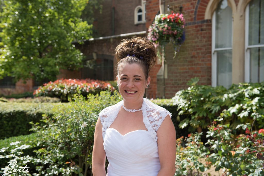 The bride outside St Albans Registry Office