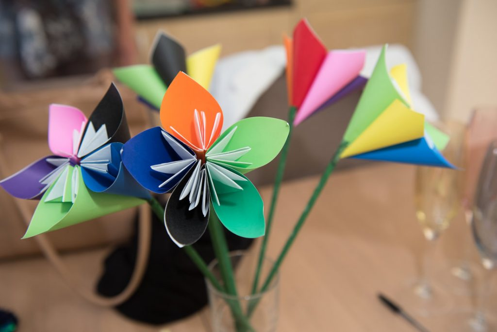 Gay pride colours in handmade flowers