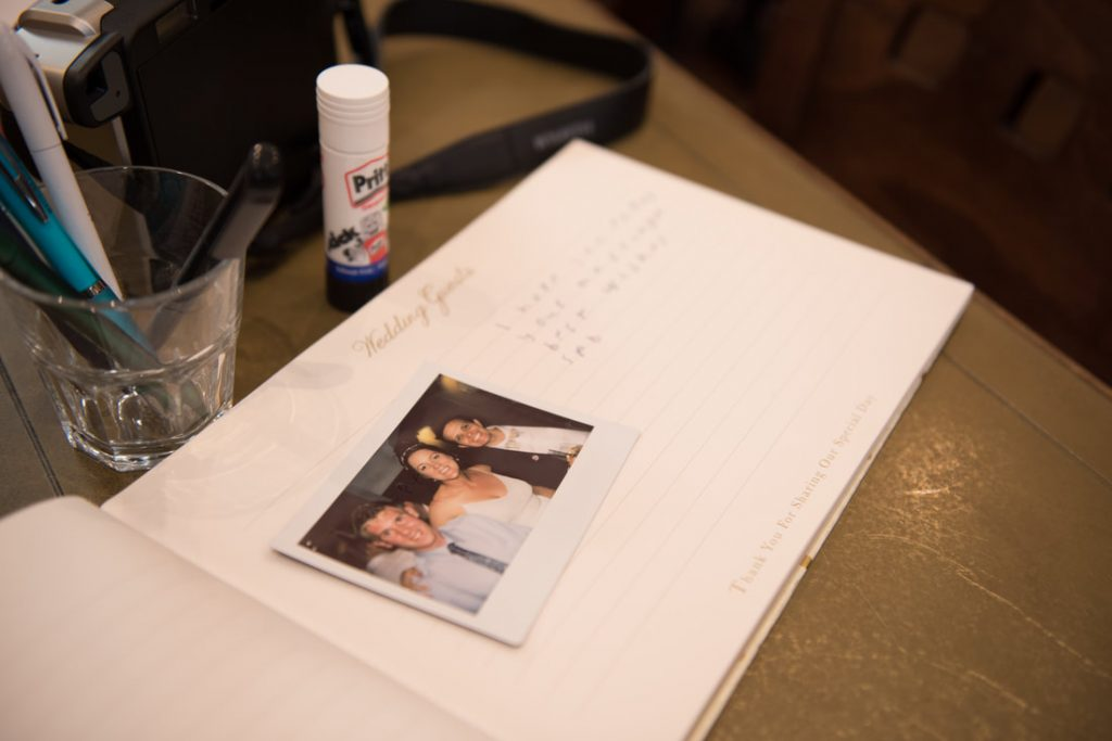 Wedding guestbook with Polaroid pictures