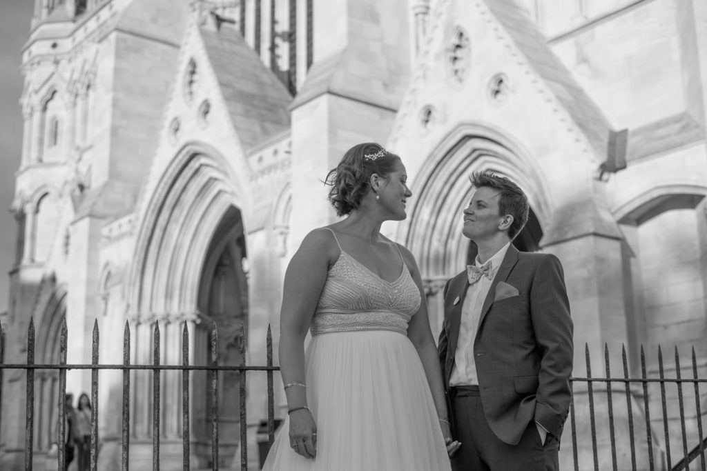 The married couple outside St Albans Cathedral