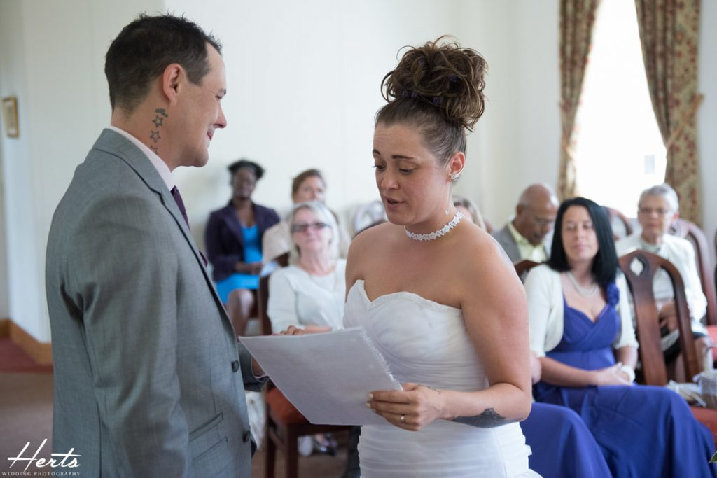 The bride reads the speech to her husband to be