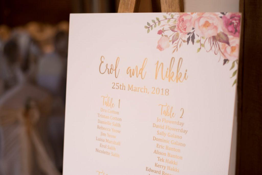 The table plan for the wedding of erol and nikki