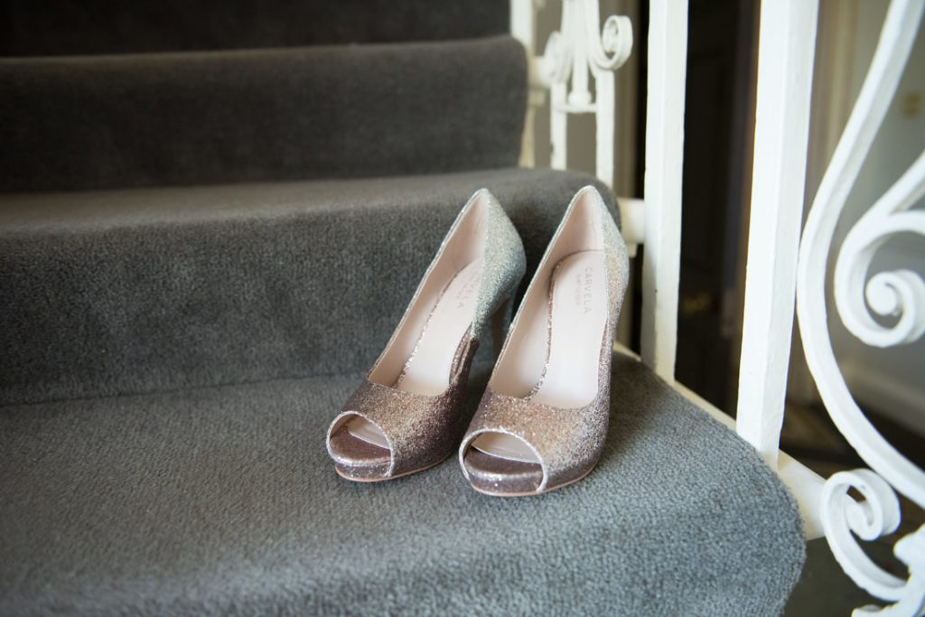 Brides shoes on the staircase