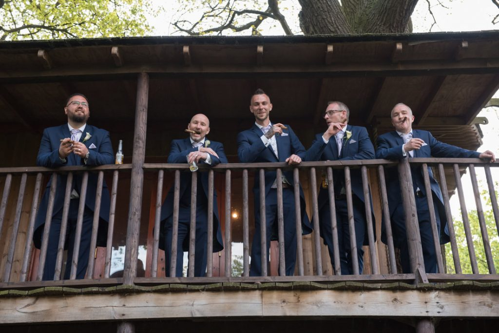 The groom and ushers at theobalds estate