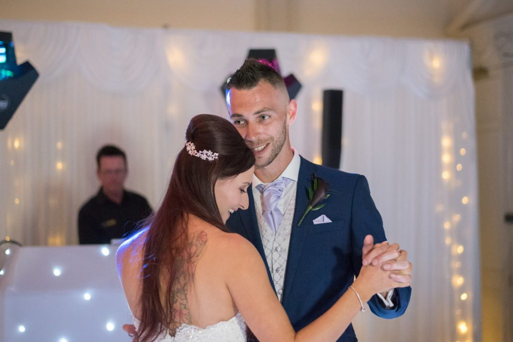 The groom share their first dance as husband and wife