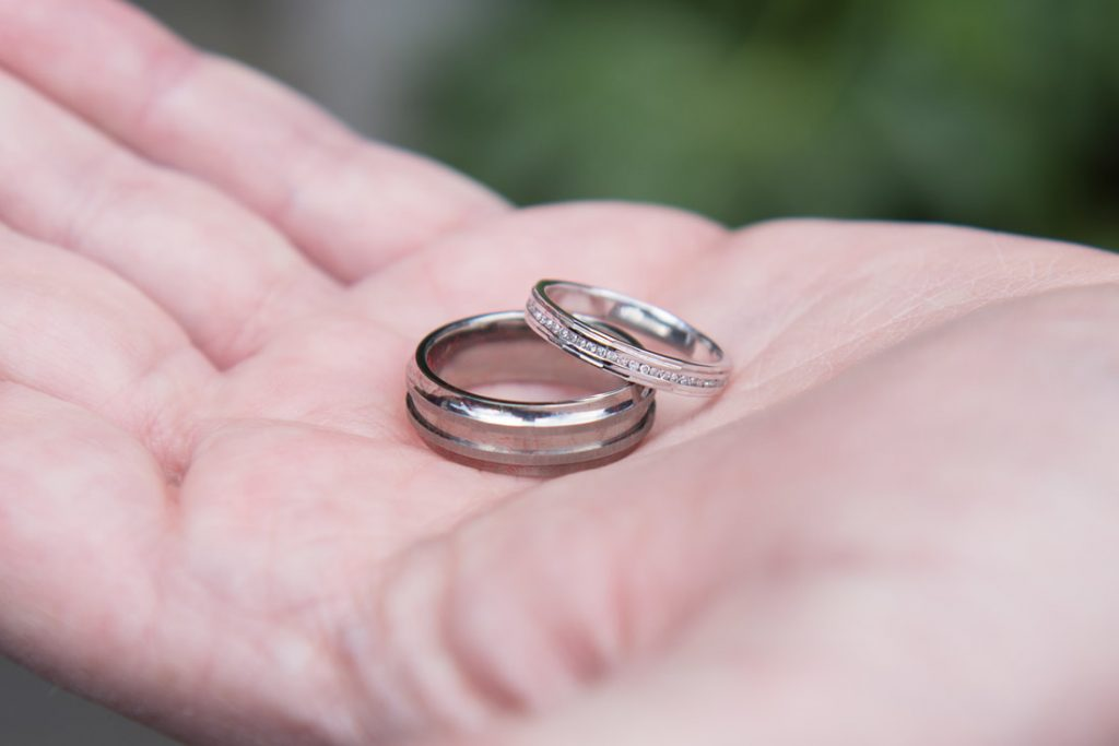 A closeup shot of the wedding rings