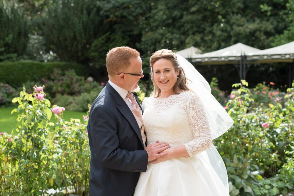 Bride and groom portraits in the gardens