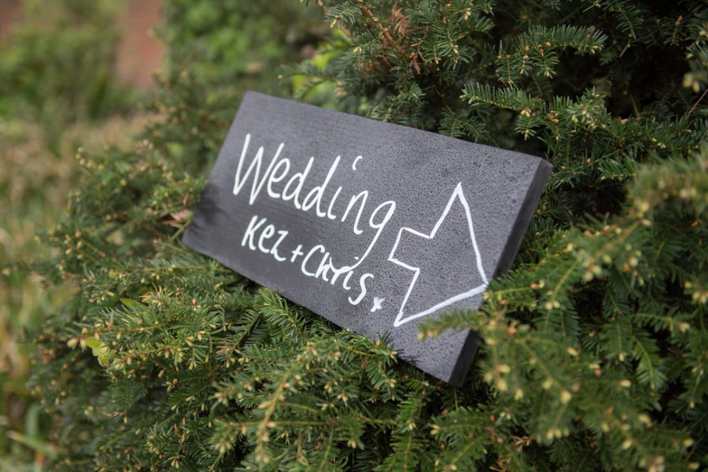 A wedding sign outside the Ware Priory