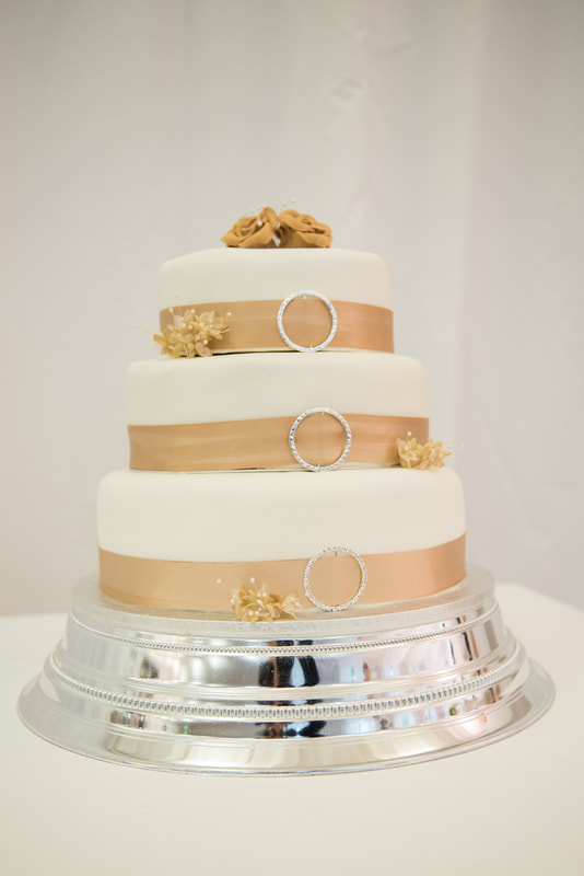 A three-tiered wedding cake