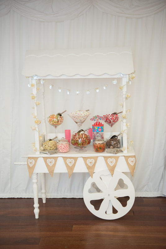 The very popular candy cart inside the Ware Priory