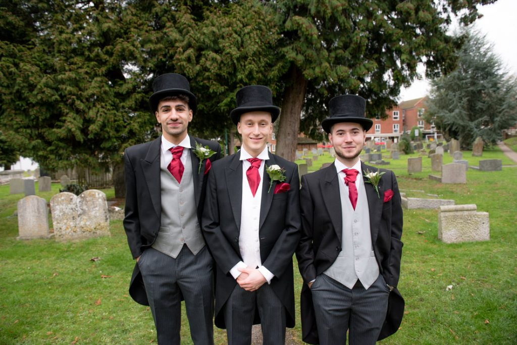 Groom & Best Men at Wheathampstead Church