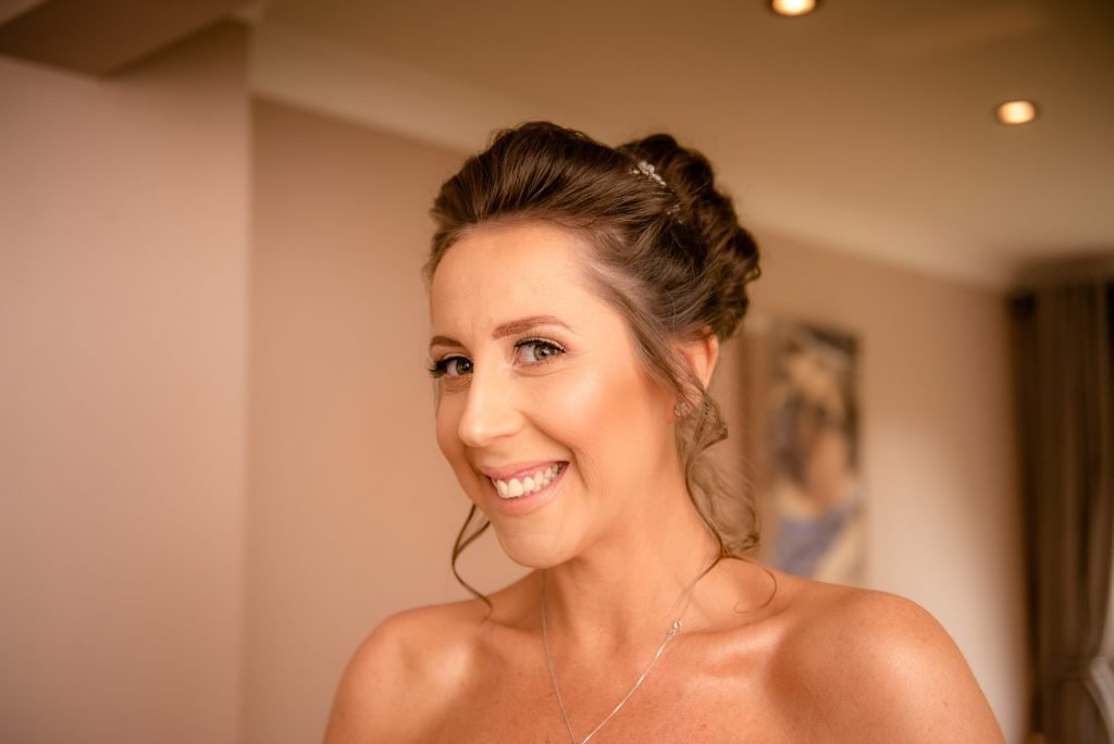 The bride looks stunning