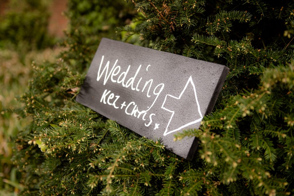 A wedding sign directing guests to the venue