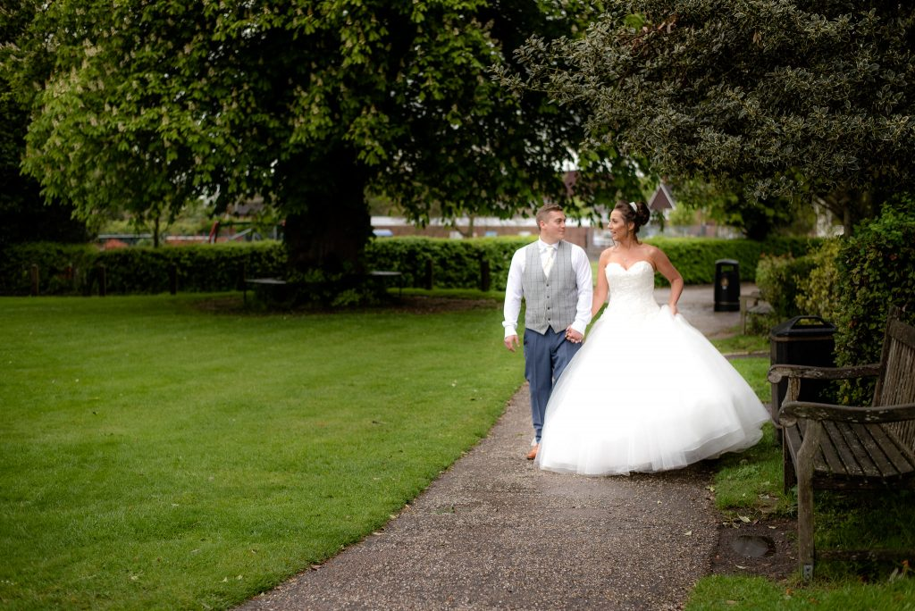 The bride and groom at ware priory