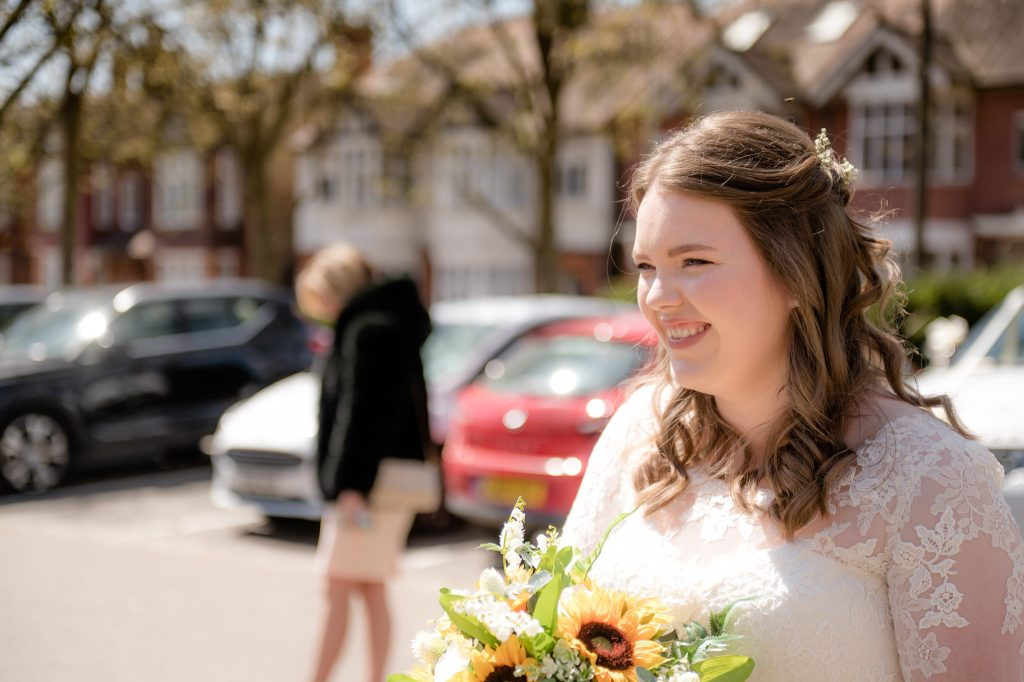 the bride at cheshunt register office