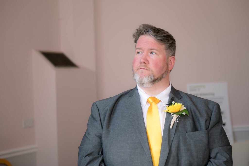 The groom awaits his wife to be