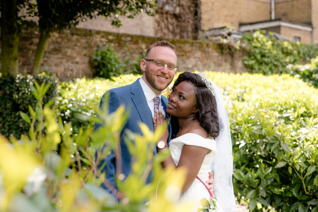Wedding photo in the gardens of Cheshunt Registry Office