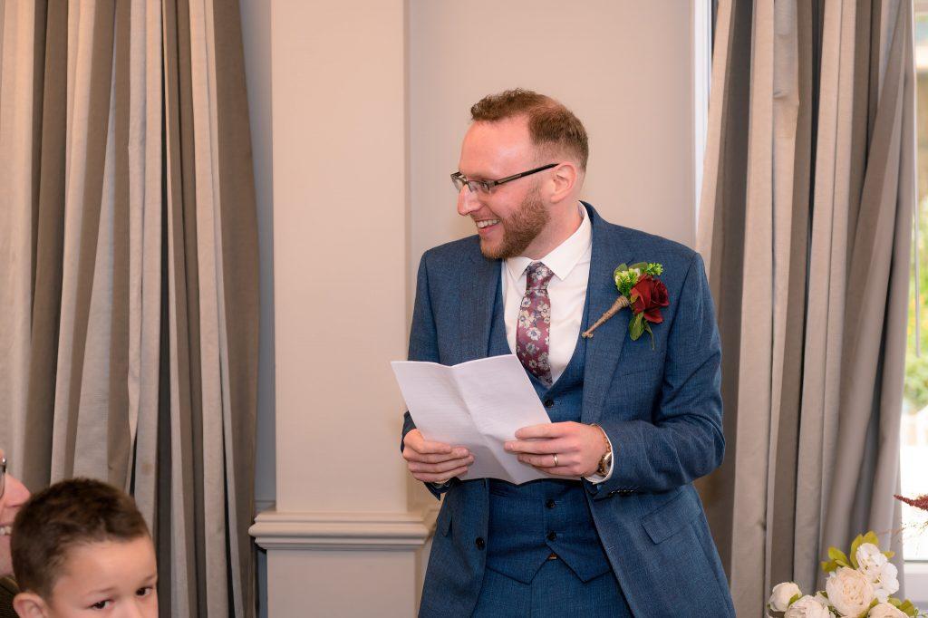 The groom delivers his wedding speech