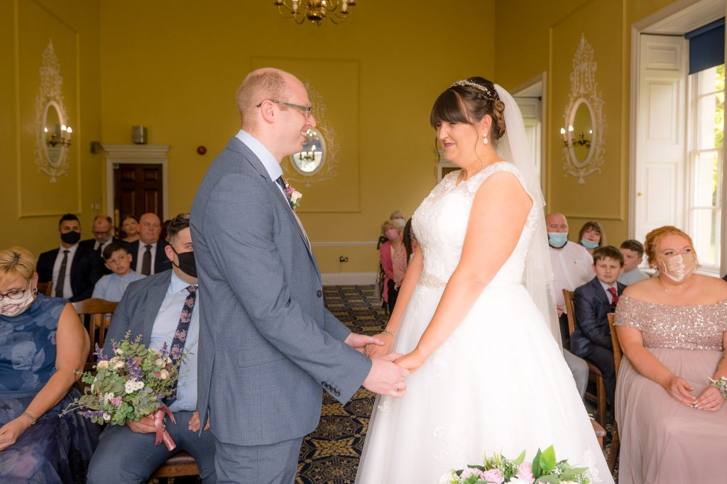 the happy couple exchange their vows