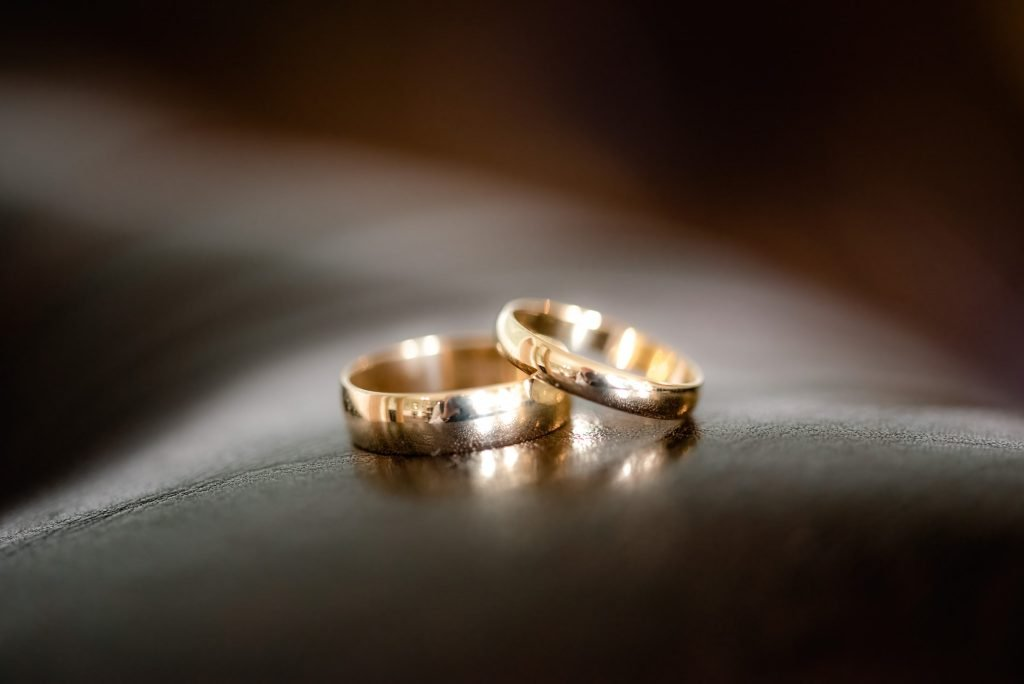 The gold wedding rings