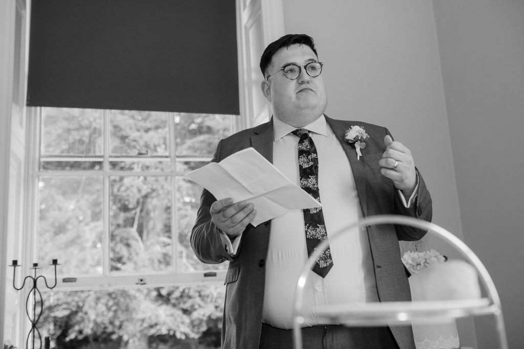 the brother of the bride gives his speech