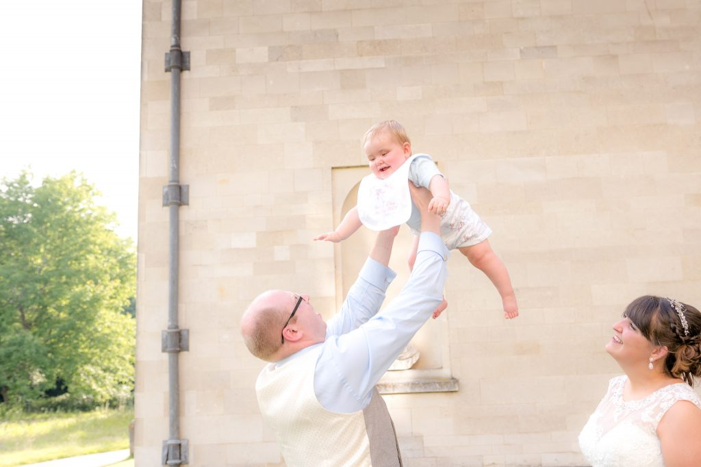 the baby flying through the air